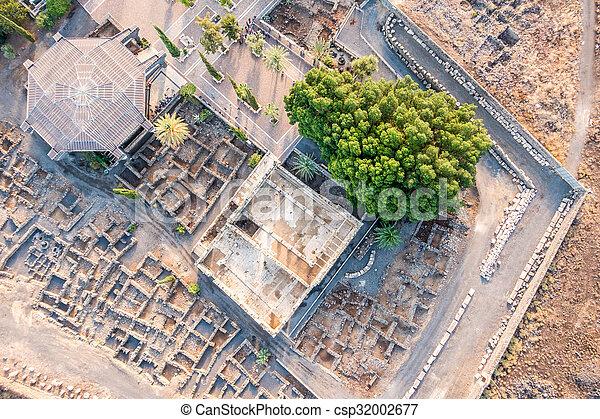 イスラエル, galilee, 航空写真, capernaum, 光景 - csp32002677