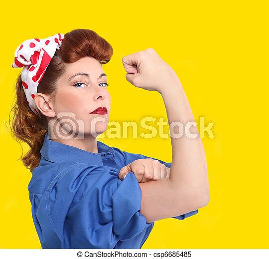 イメージ, 労働者, 画像的, 工場, 1950, 女性, 時代 - csp6685485