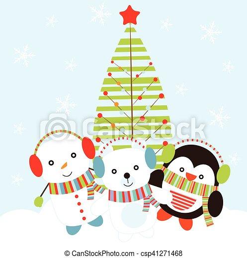 イラスト かわいい 熊 雪だるま 積雪量 背景 クリスマス ペンギン
