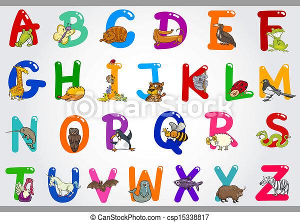 イラスト, アルファベット, 動物, 漫画 - csp15338817
