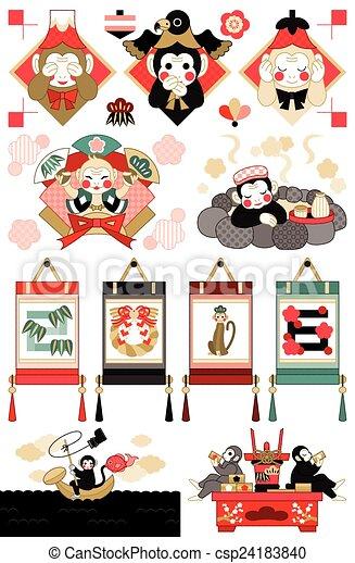 イラスト, スタイル, 日本語, サル - csp24183840