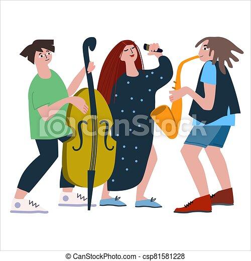 イラスト, ダブル, 声, サクソフォーン, 平ら, ベース, ジャズ, トリオ, バンド, ベクトル, スタイル, performance. - csp81581228