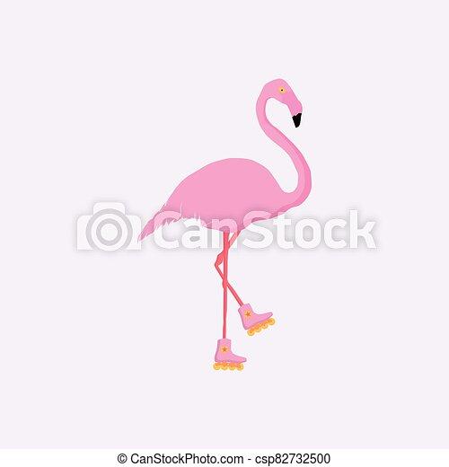 イラスト, フラミンゴ, ピンク, 白, バックグラウンド。, ベクトル, 隔離された - csp82732500