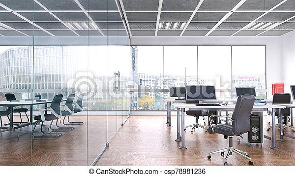 イラスト, 内部, 窓。, 大きい, オフィス, 3d - csp78981236