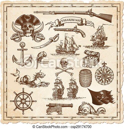イラスト, 地図, ベクトル, 宝物 - csp29174700
