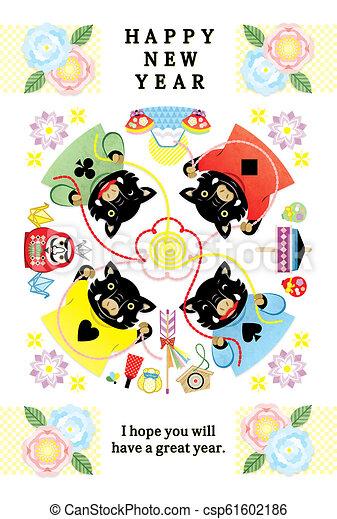 イラスト, 年の, 4, 2019, 年, 雄豚, デザイン, 新しい, カード, 幸せ - csp61602186