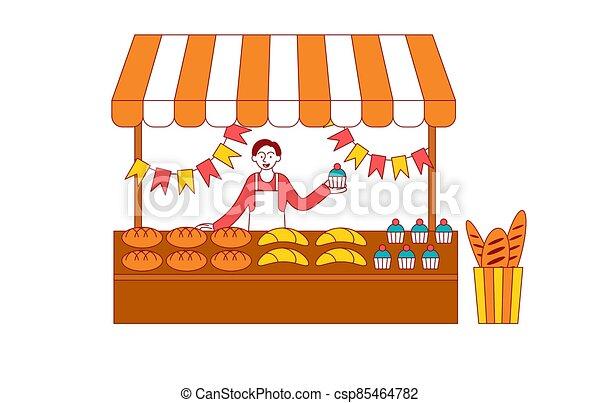 イラスト 店 パン屋 パン屋 通り 小売り Illustration 店 ベクトル Concept あるいは 平ら Installed Fair Canstock