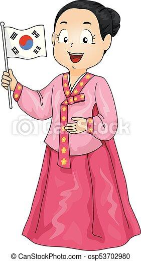 イラスト 旗 衣装 女の子 韓国語 子供 身に着けていること