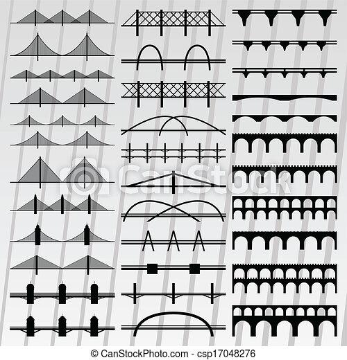 イラスト, 橋, シルエット, コレクション, 背景 - csp17048276