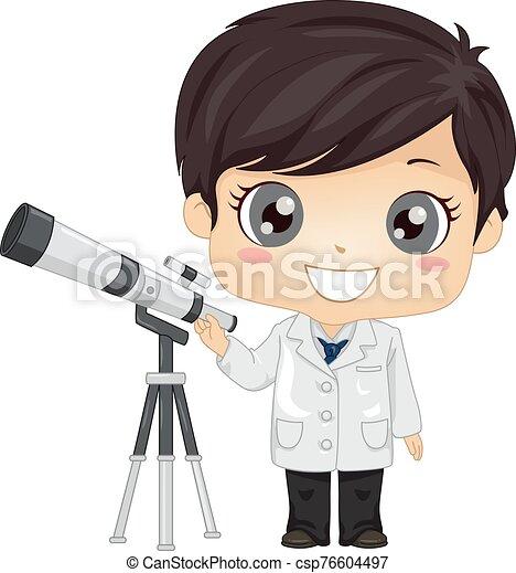 イラスト, 男の子, 子供, 天文学者 - csp76604497