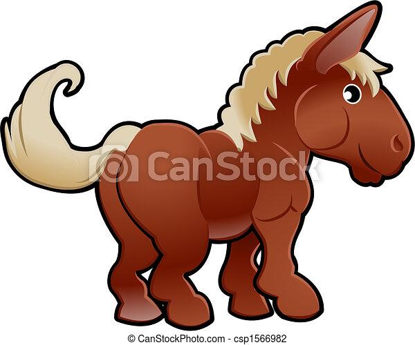 イラスト 馬 かわいい ベクトル 家畜 Canstock