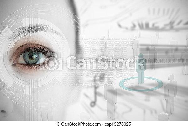 インターフェイス, 終わり, 未来派, の上, 目, 女 - csp13278025