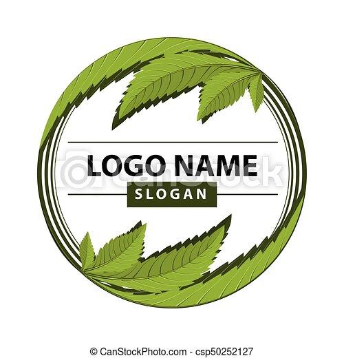インド大麻の葉, 緑, logo. - csp50252127