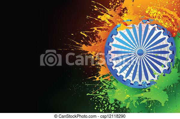 インド, 三色旗, 背景 - csp12118290