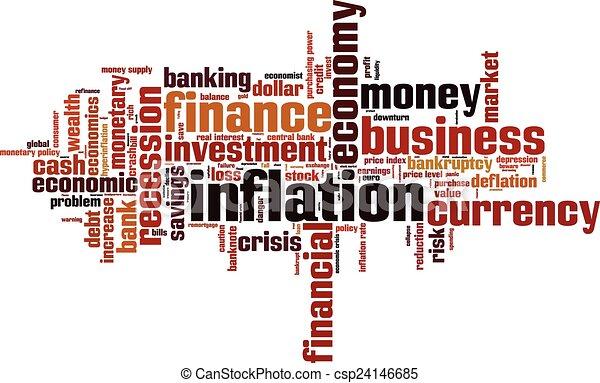 インフレーション, 単語, 雲 - csp24146685