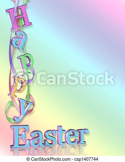イースター, ボーダー, 幸せ - csp1407744