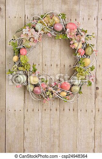 イースター, 花輪, 卵 - csp24948364