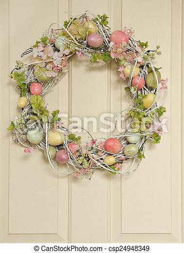 イースター, 花輪, 卵 - csp24948349