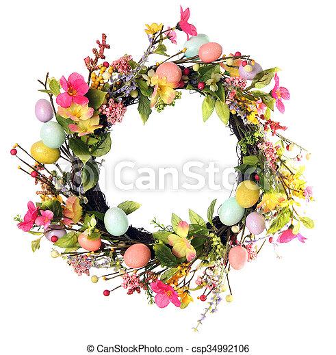 イースター, 花輪, 卵 - csp34992106