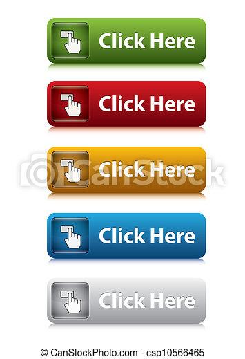 ウェブサイト, セット, 色, ボタン, ここに, 5, クリック - csp10566465
