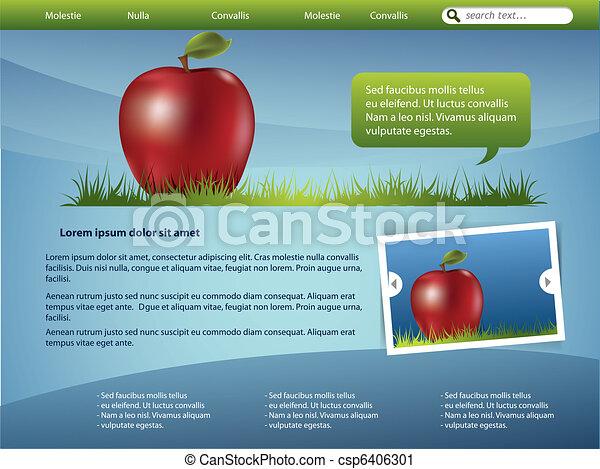 ウェブサイト, デザイン, アップル, テンプレート - csp6406301