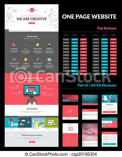 ウェブサイト, デザイン, ページ, テンプレート, 1(人・つ) - csp20195304