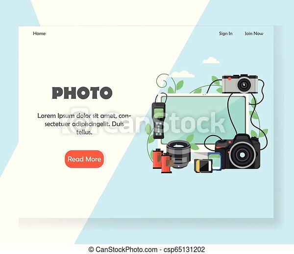 ウェブサイト, 写真撮影, 着陸, ベクトル, デザイン, テンプレート, ページ - csp65131202