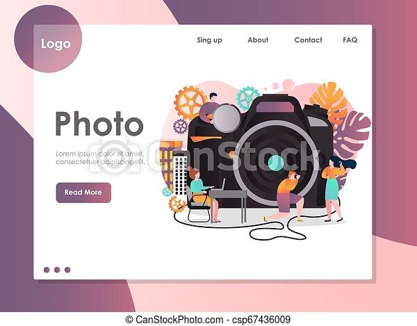 ウェブサイト, 写真, 着陸, ベクトル, デザイン, テンプレート, ページ - csp67436009
