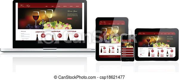ウェブサイト, 多数, テンプレート, 装置 - csp18621477