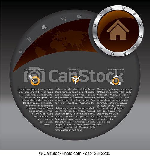 ウェブサイト, 暗い色, デザイン, テンプレート - csp12342285