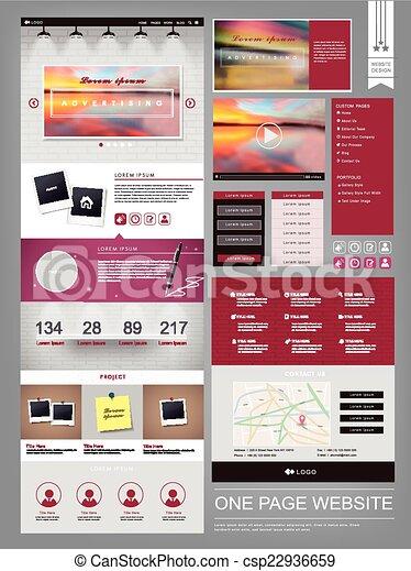 ウェブサイト, 現代, 1(人・つ), デザイン, テンプレート, ページ - csp22936659