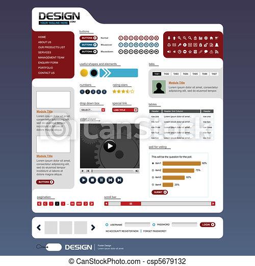 ウェブサイト, 網の設計, テンプレート, 要素 - csp5679132