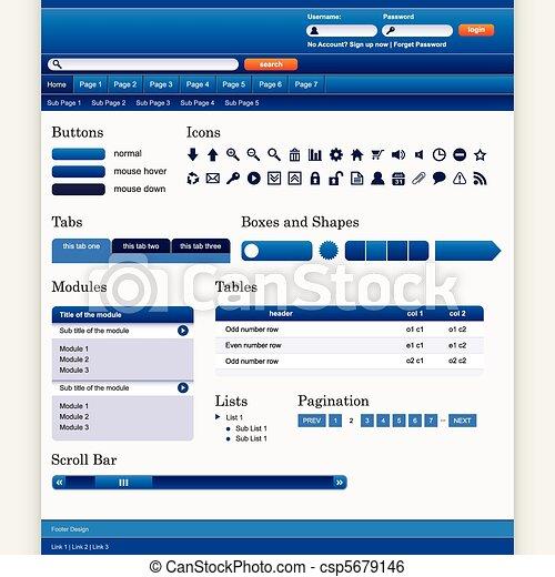ウェブサイト, 網の設計, テンプレート, 要素 - csp5679146