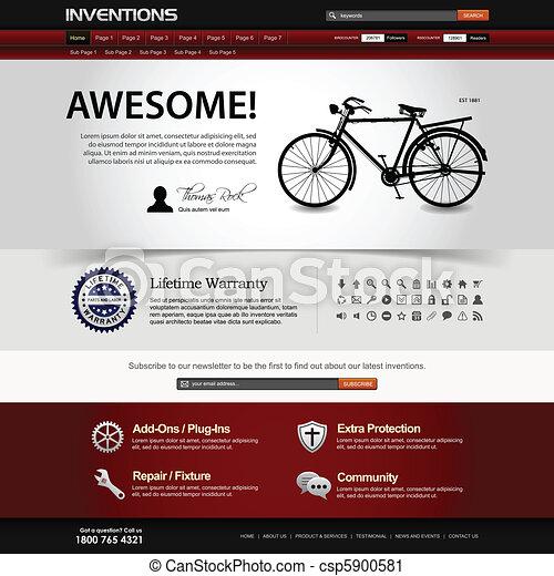 ウェブサイト, 網の設計, テンプレート, 要素 - csp5900581