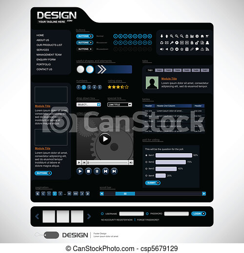 ウェブサイト, 網の設計, テンプレート, 要素 - csp5679129