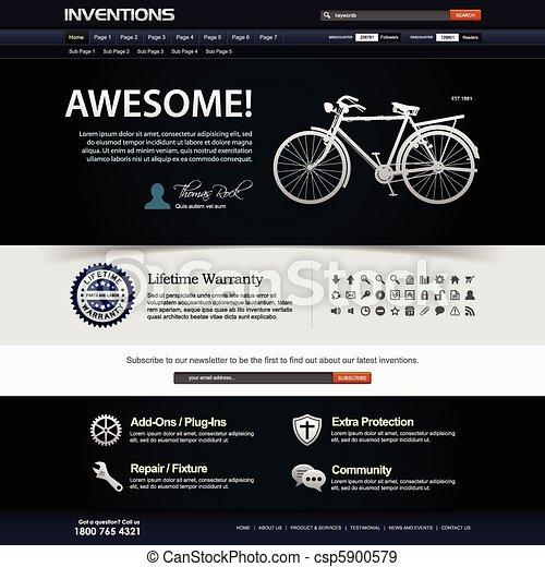 ウェブサイト, 網の設計, テンプレート, 要素 - csp5900579