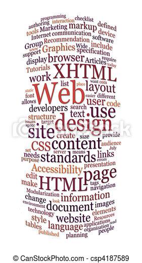 ウェブサイト, 網, 単語, デザイン, 雲 - csp4187589