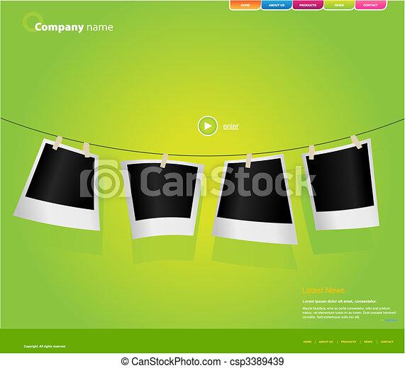 ウェブサイト, photos., テンプレート - csp3389439