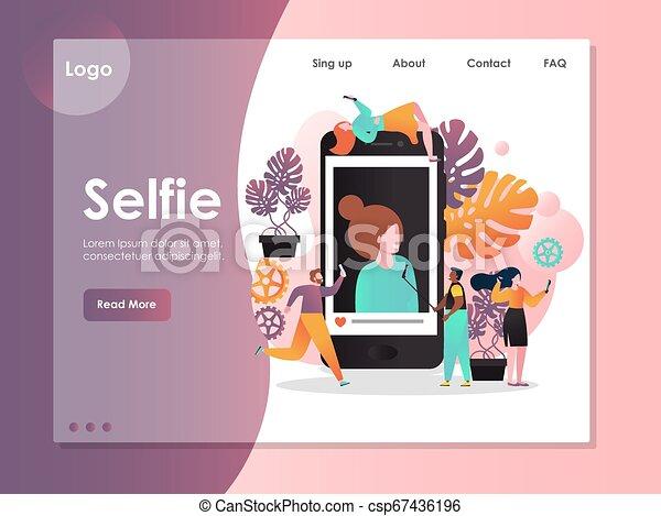ウェブサイト, selfie, 着陸, ベクトル, デザイン, テンプレート, ページ - csp67436196
