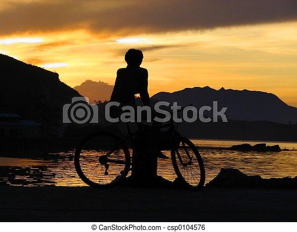 エキゾチック, 男の子, 日没 - csp0104576