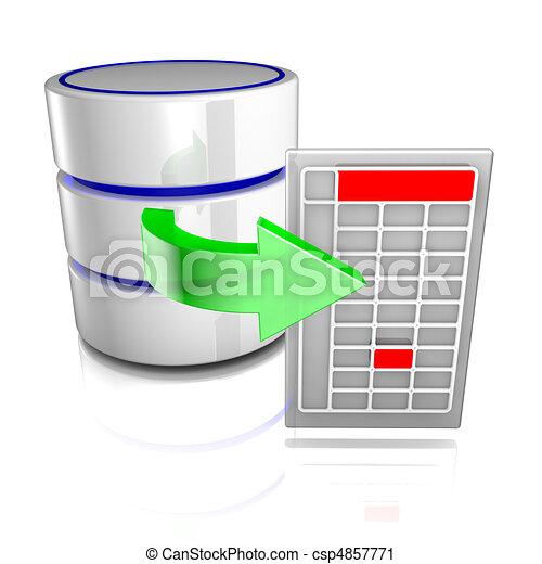 エクスポート, データ, データベース - csp4857771