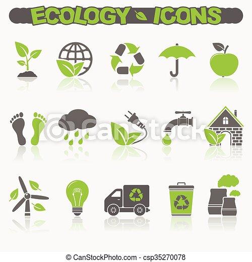エコロジー, セット, アイコン - csp35270078