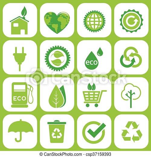 エコロジー, セット, アイコン - csp37159393