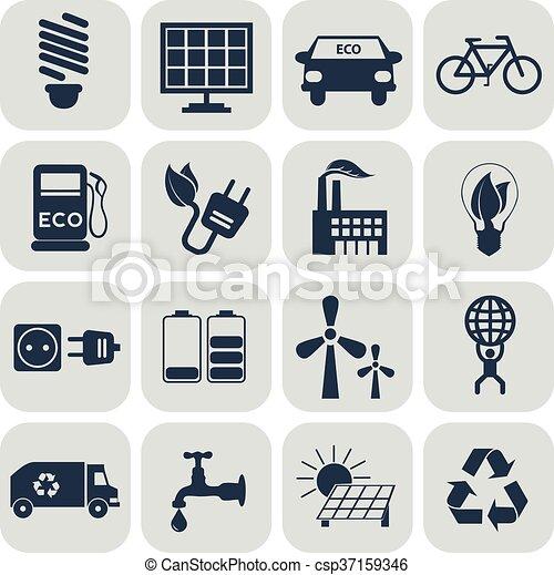 エコロジー, セット, アイコン - csp37159346