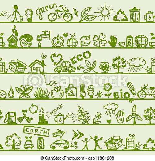 エコロジー, パターン, concept., seamless, デザイン, あなたの - csp11861208