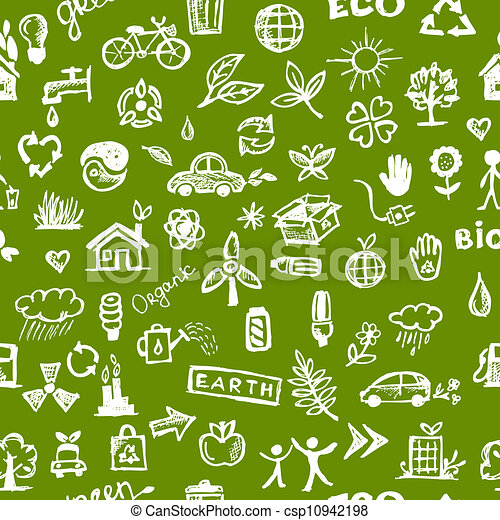 エコロジー, パターン, concept., seamless, デザイン, あなたの - csp10942198