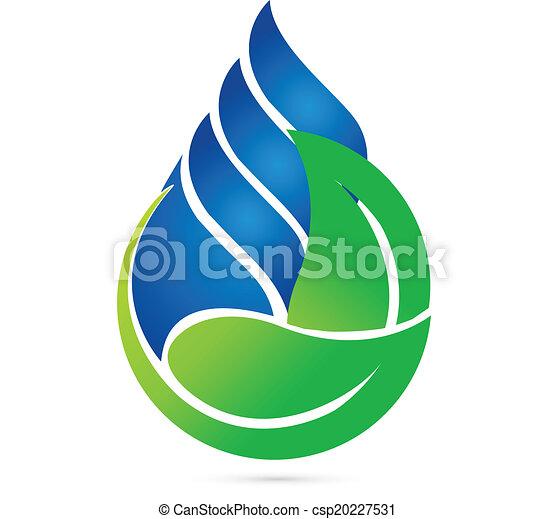 エコロジー, 低下, 水, 緑, leafs, ロゴ - csp20227531