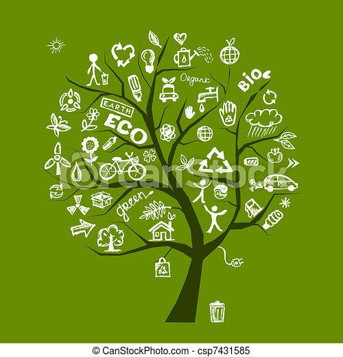 エコロジー, 木, 概念, 緑, デザイン, あなたの - csp7431585