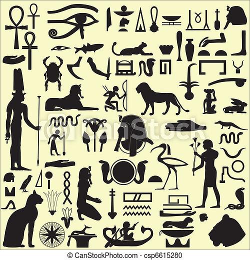 エジプト人, シンボル, 1, セット, サイン - csp6615280