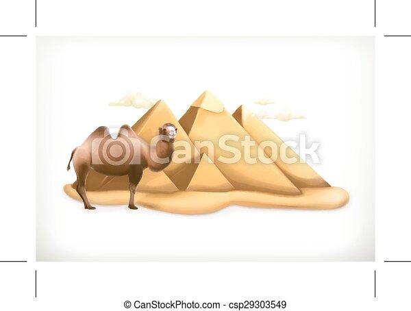 エジプト人, ピラミッド, イラスト - csp29303549